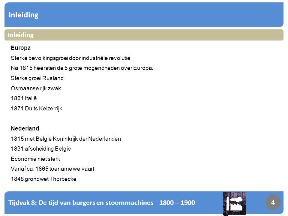 Inleiding Inleiding. Europa. Sterke bevolkingsgroei door industriële revolutie. Na 1815 heersten de 5 grote mogendheden over Europa.