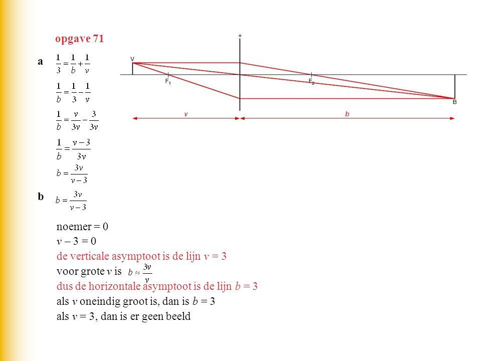 opgave 71 a. b. noemer = 0. v – 3 = 0. de verticale asymptoot is de lijn v = 3. voor grote v is.