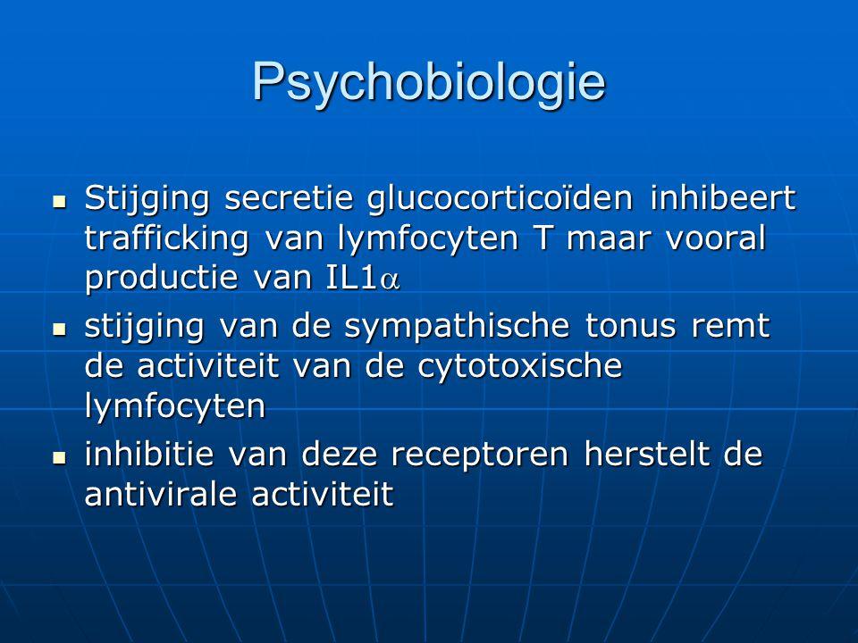 Psychobiologie Stijging secretie glucocorticoïden inhibeert trafficking van lymfocyten T maar vooral productie van IL1