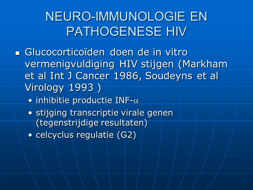 NEURO-IMMUNOLOGIE EN PATHOGENESE HIV