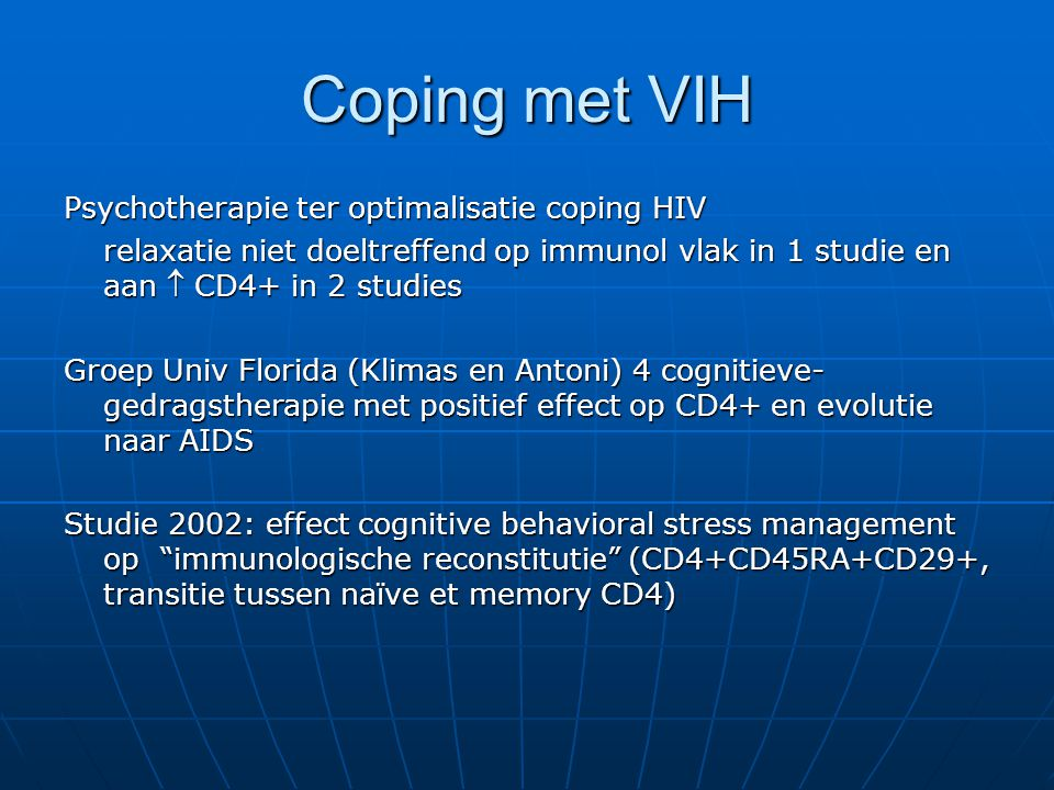 Coping met VIH Psychotherapie ter optimalisatie coping HIV