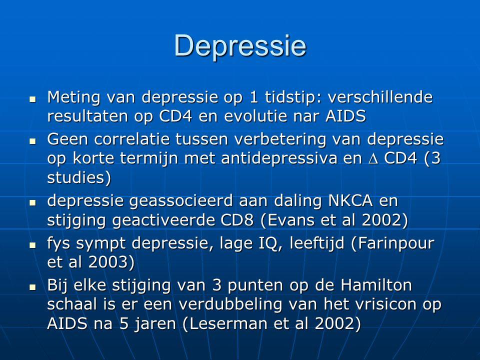 Depressie Meting van depressie op 1 tidstip: verschillende resultaten op CD4 en evolutie nar AIDS.