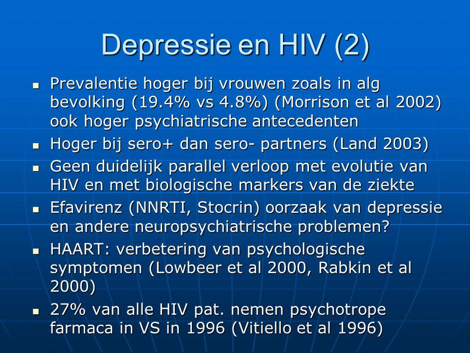 Depressie en HIV (2) Prevalentie hoger bij vrouwen zoals in alg bevolking (19.4% vs 4.8%) (Morrison et al 2002) ook hoger psychiatrische antecedenten.