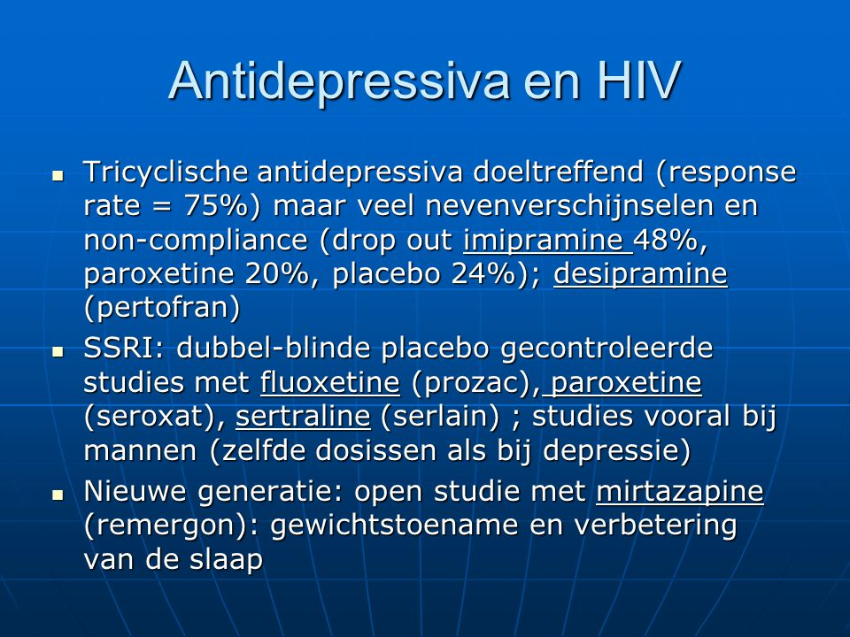 Antidepressiva en HIV