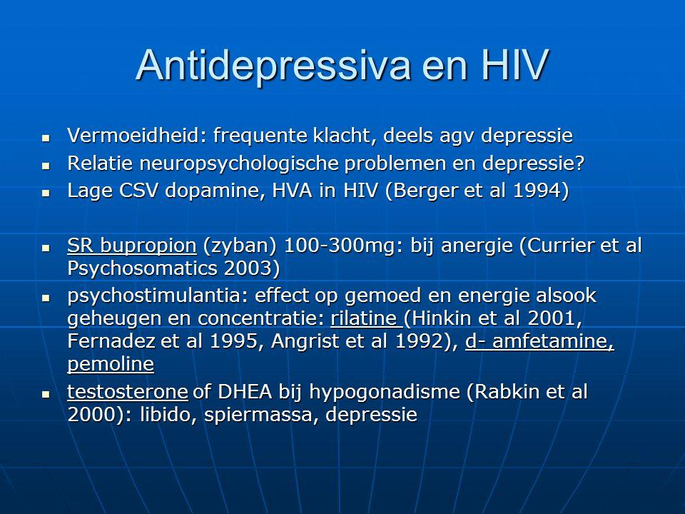Antidepressiva en HIV Vermoeidheid: frequente klacht, deels agv depressie. Relatie neuropsychologische problemen en depressie