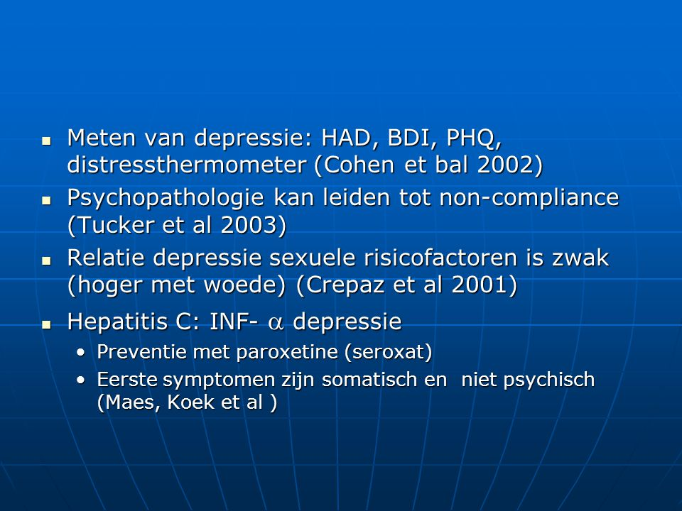 Psychopathologie kan leiden tot non-compliance (Tucker et al 2003)