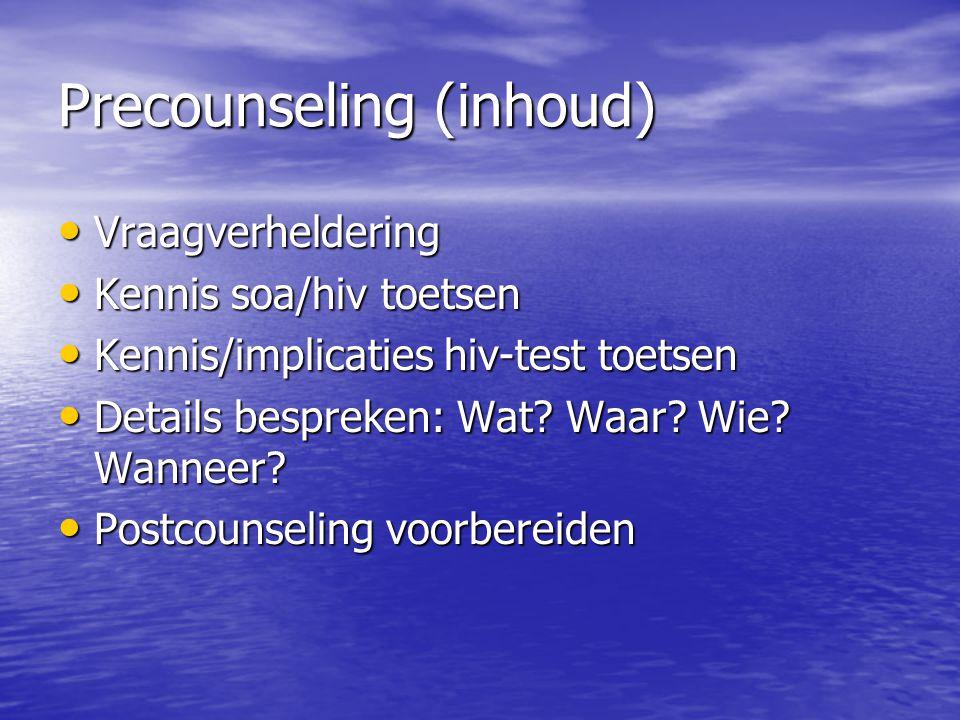 Precounseling (inhoud)