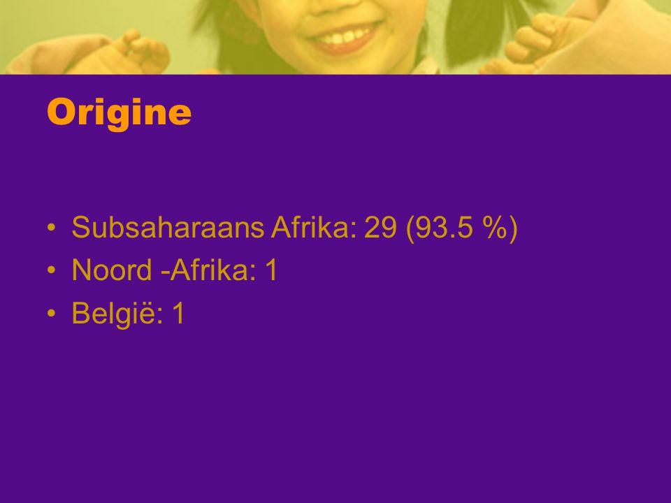 Origine Subsaharaans Afrika: 29 (93.5 %) Noord -Afrika: 1 België: 1