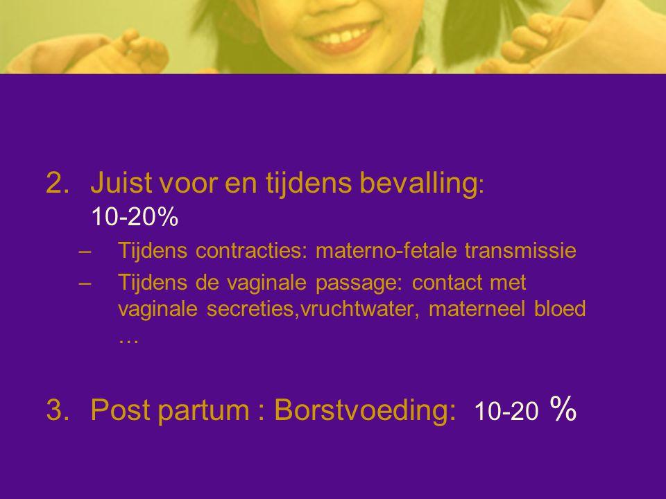 Juist voor en tijdens bevalling: 10-20%