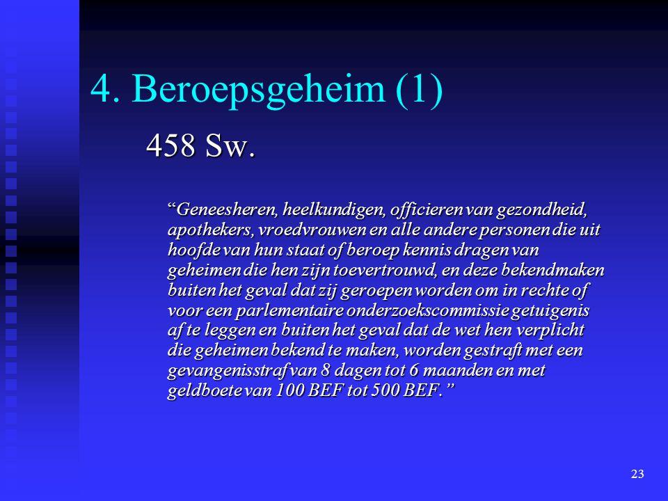 4. Beroepsgeheim (1) 458 Sw.