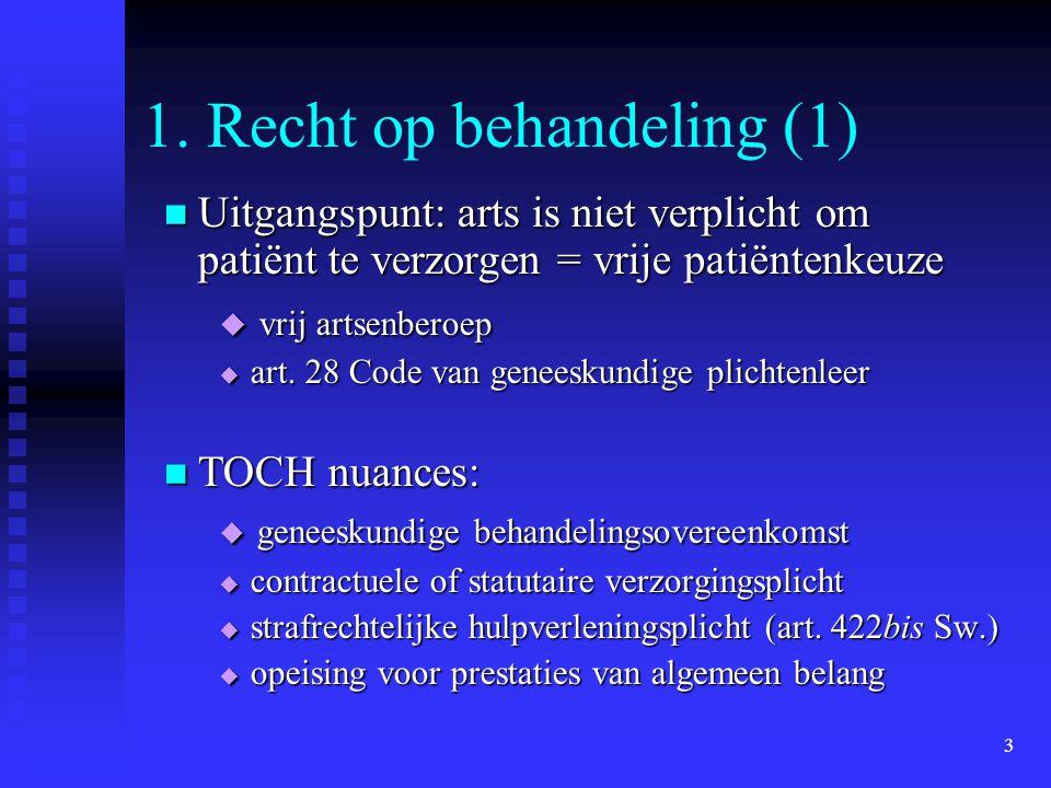 1. Recht op behandeling (1)