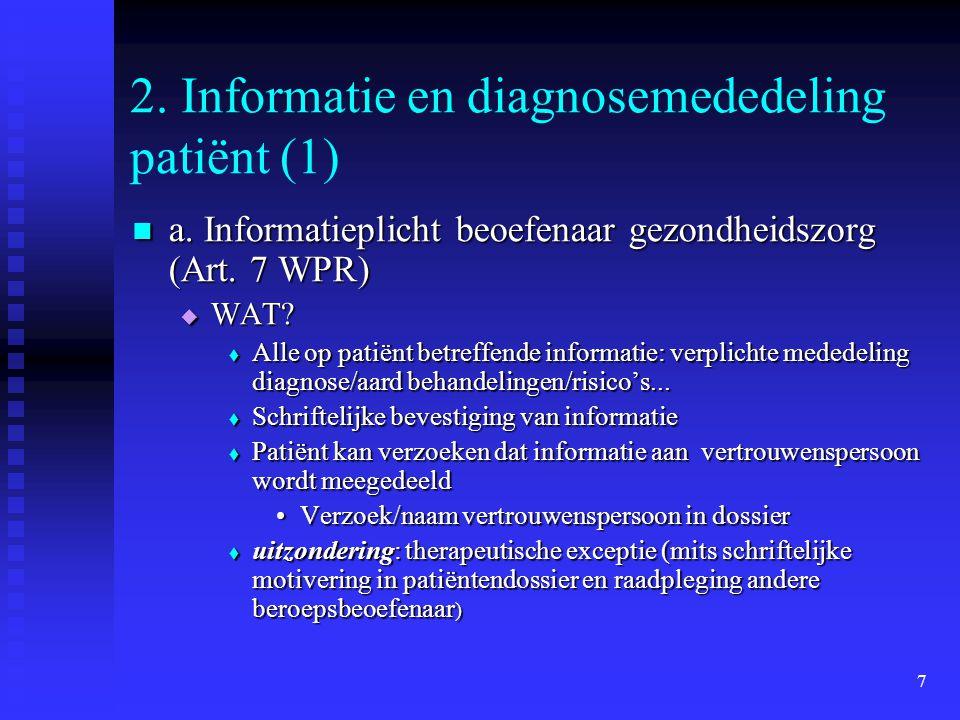 2. Informatie en diagnosemededeling patiënt (1)