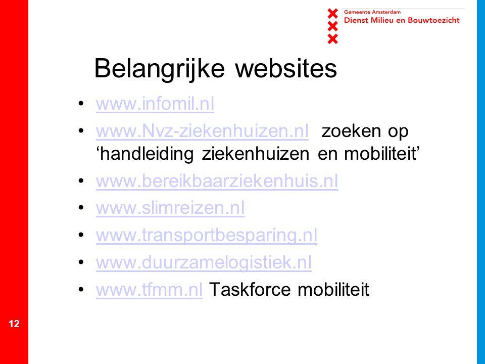 Belangrijke websites www.infomil.nl