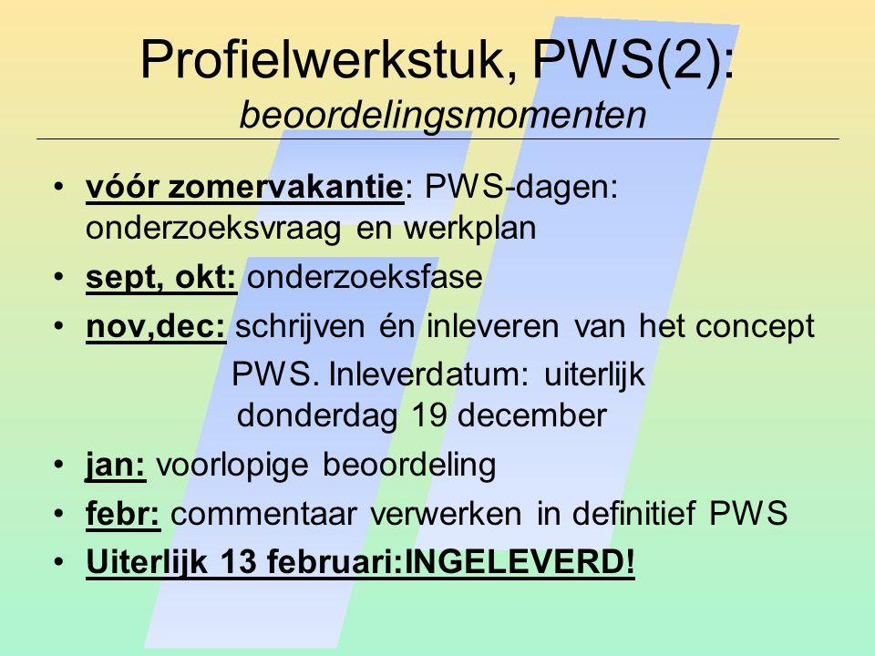 Profielwerkstuk, PWS(2): beoordelingsmomenten