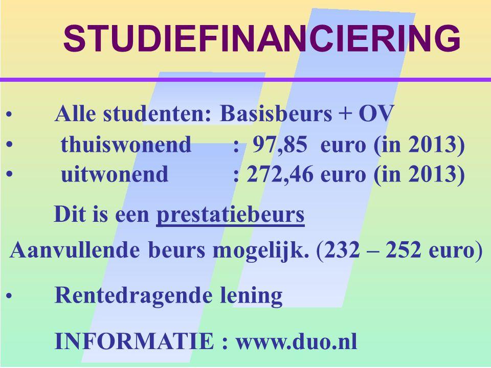 Aanvullende beurs mogelijk. (232 – 252 euro)