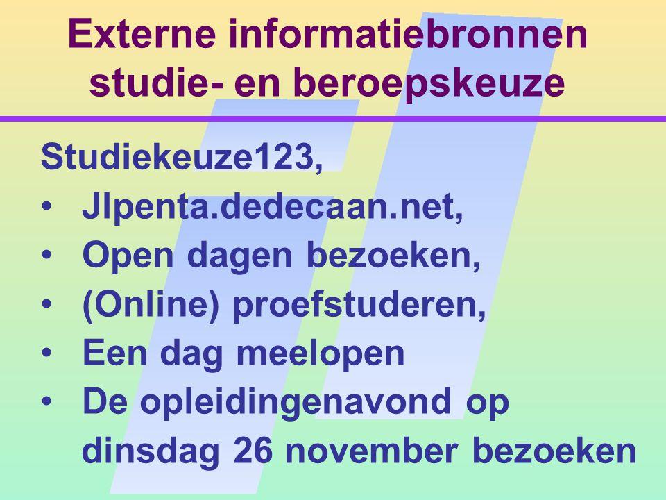 Externe informatiebronnen studie- en beroepskeuze