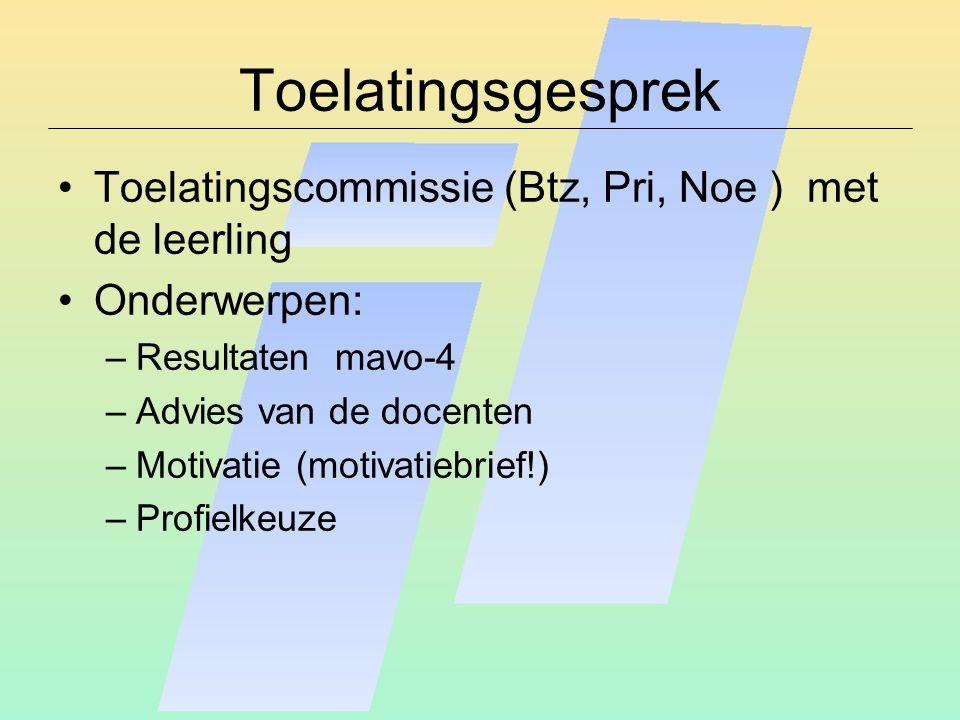 Toelatingsgesprek Toelatingscommissie (Btz, Pri, Noe ) met de leerling