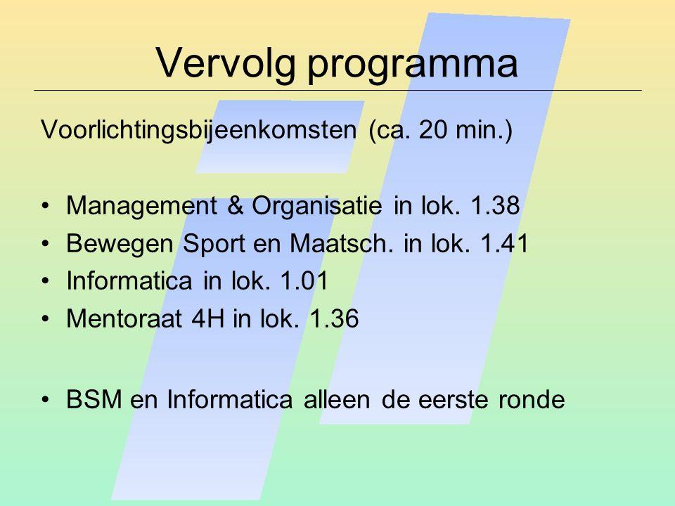 Vervolg programma Voorlichtingsbijeenkomsten (ca. 20 min.)