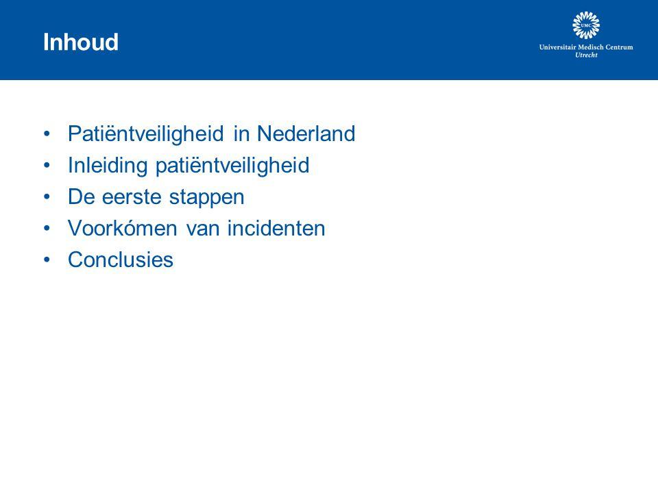 Inhoud Patiëntveiligheid in Nederland Inleiding patiëntveiligheid