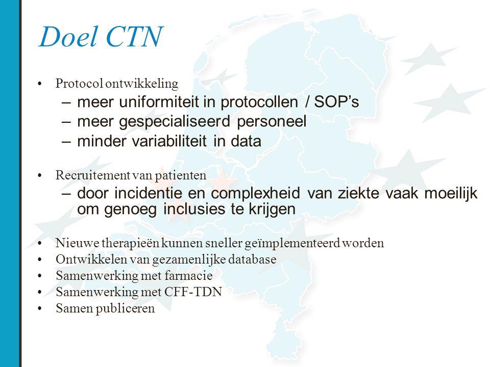 Doel CTN meer uniformiteit in protocollen / SOP's