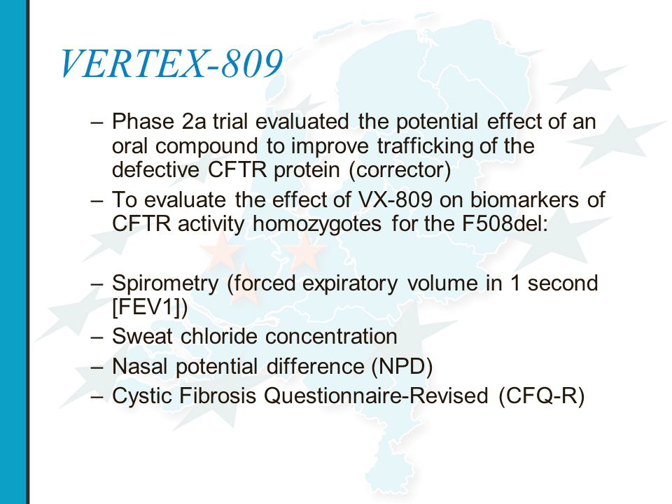 VERTEX-809 Phase 2a trial evaluated the potential effect of an oral compound to improve trafficking of the defective CFTR protein (corrector)