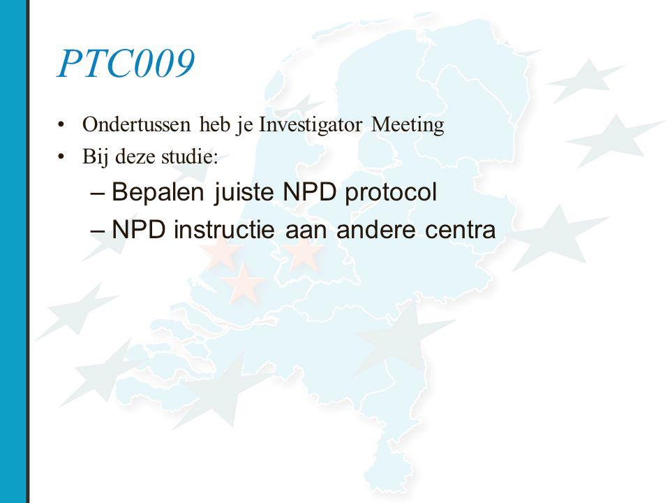 PTC009 Bepalen juiste NPD protocol NPD instructie aan andere centra