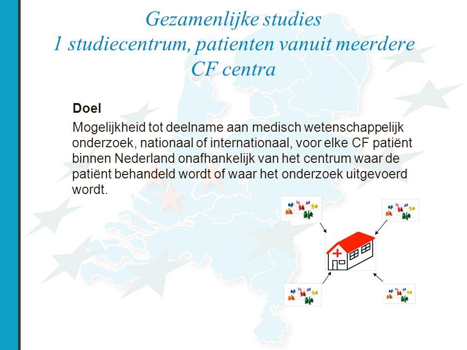 Gezamenlijke studies 1 studiecentrum, patienten vanuit meerdere CF centra