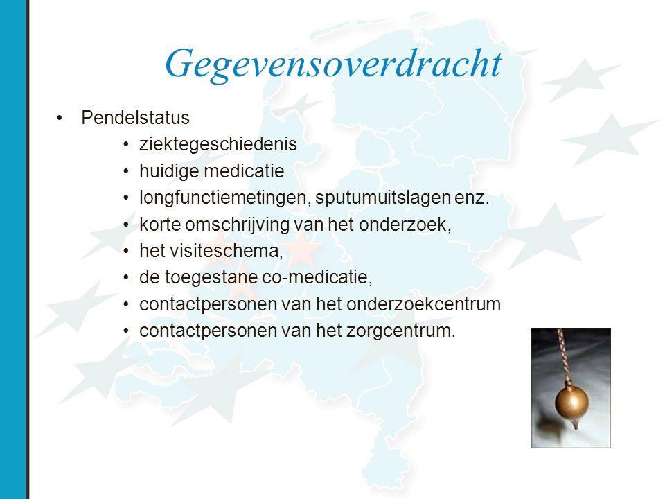 Gegevensoverdracht Pendelstatus ziektegeschiedenis huidige medicatie