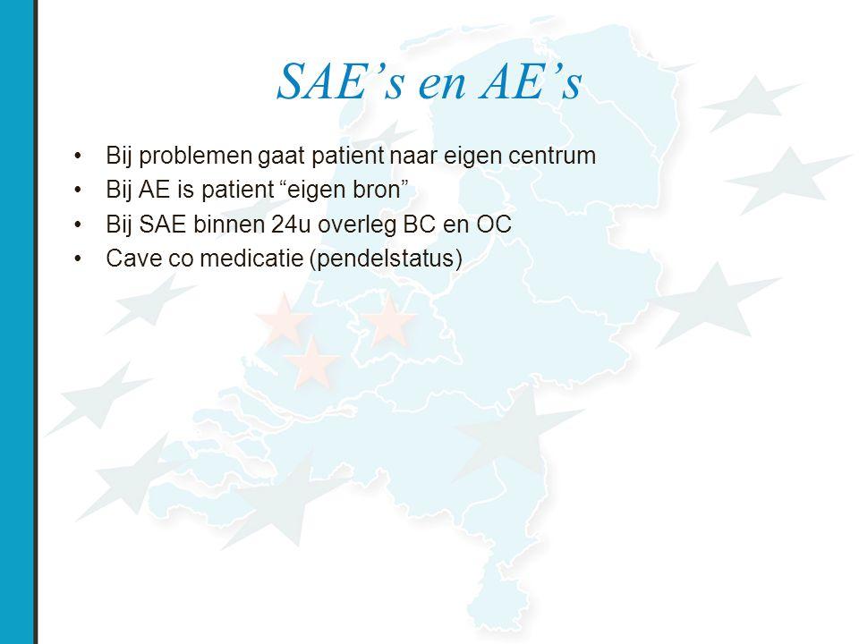 SAE's en AE's Bij problemen gaat patient naar eigen centrum