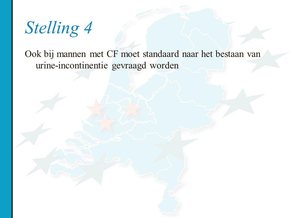 Stelling 4 Ook bij mannen met CF moet standaard naar het bestaan van urine-incontinentie gevraagd worden.