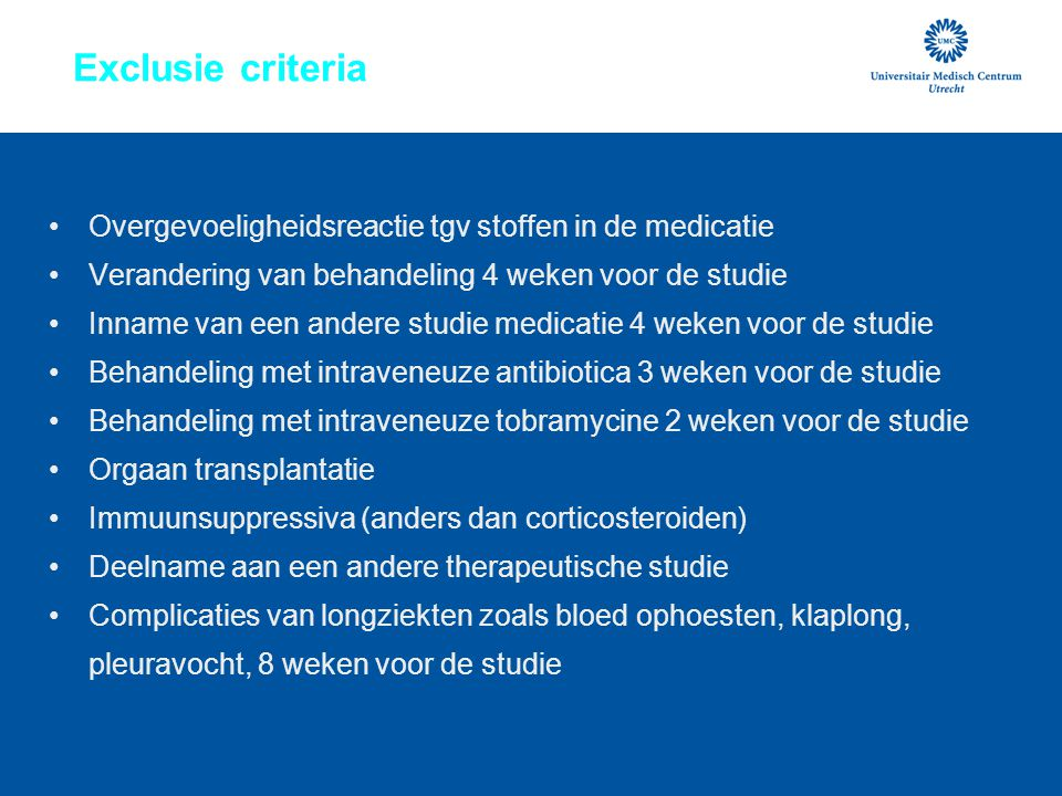 Exclusie criteria Overgevoeligheidsreactie tgv stoffen in de medicatie