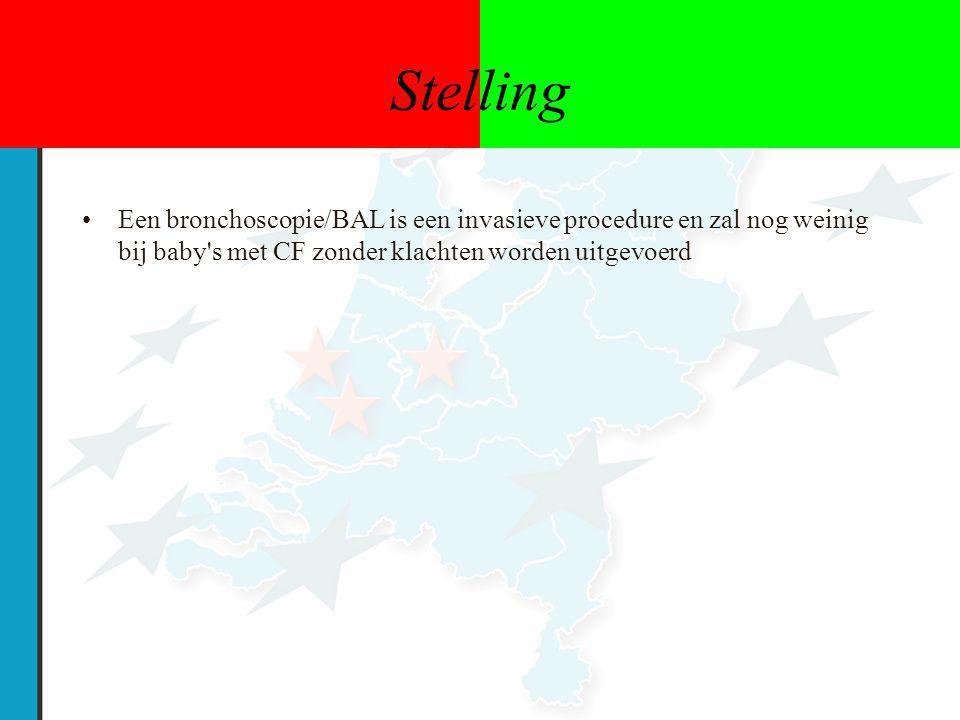 Stelling Een bronchoscopie/BAL is een invasieve procedure en zal nog weinig bij baby s met CF zonder klachten worden uitgevoerd.