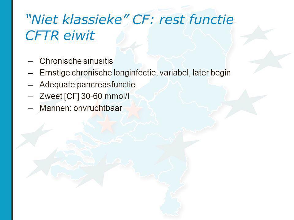Niet klassieke CF: rest functie CFTR eiwit