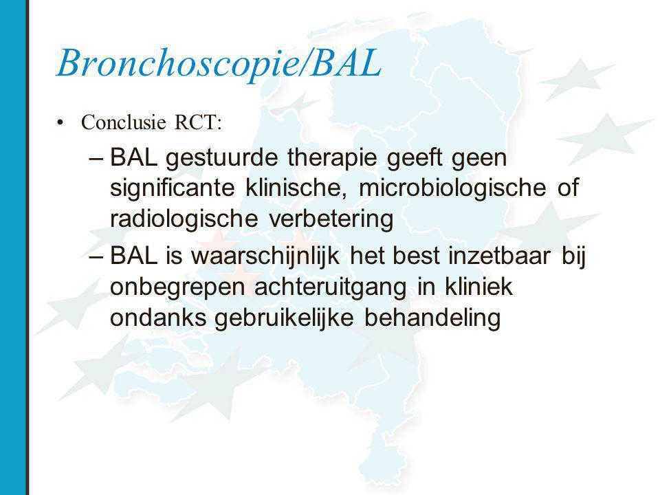 Bronchoscopie/BAL Conclusie RCT: BAL gestuurde therapie geeft geen significante klinische, microbiologische of radiologische verbetering.