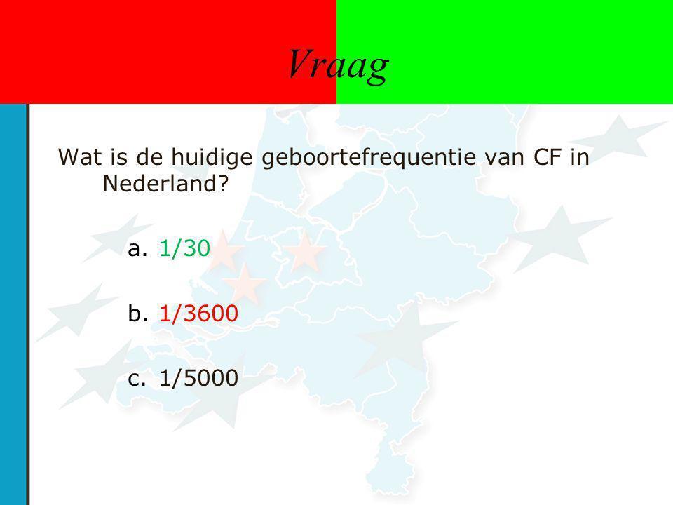 Vraag Wat is de huidige geboortefrequentie van CF in Nederland 1/30