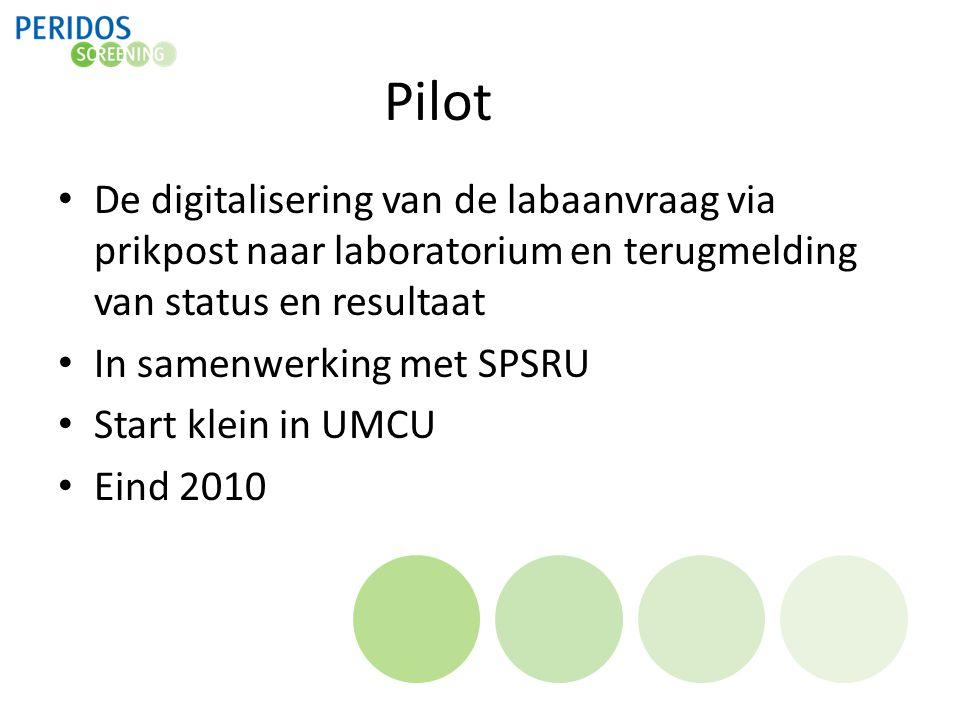 Pilot De digitalisering van de labaanvraag via prikpost naar laboratorium en terugmelding van status en resultaat.