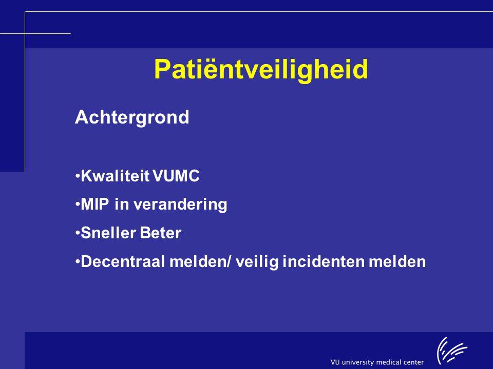 Patiëntveiligheid Achtergrond Kwaliteit VUMC MIP in verandering