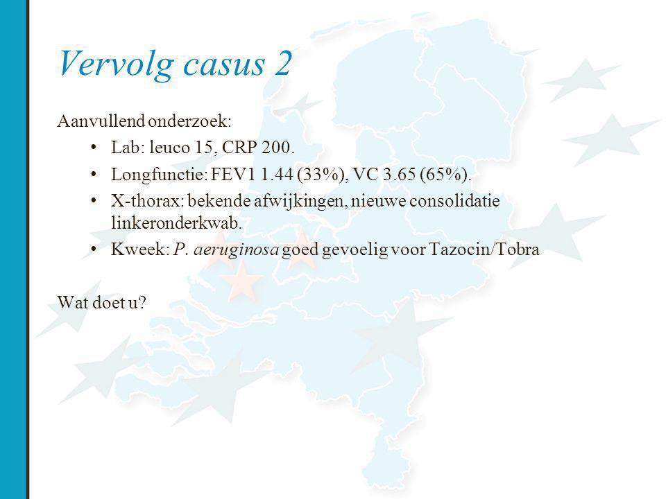 Vervolg casus 2 Aanvullend onderzoek: Lab: leuco 15, CRP 200.