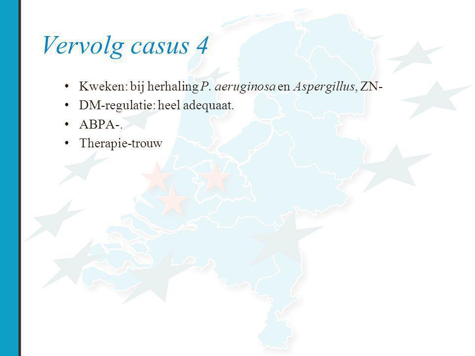 Vervolg casus 4 Kweken: bij herhaling P. aeruginosa en Aspergillus, ZN- DM-regulatie: heel adequaat.