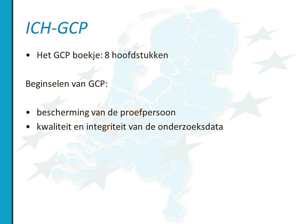 ICH-GCP Het GCP boekje: 8 hoofdstukken Beginselen van GCP: