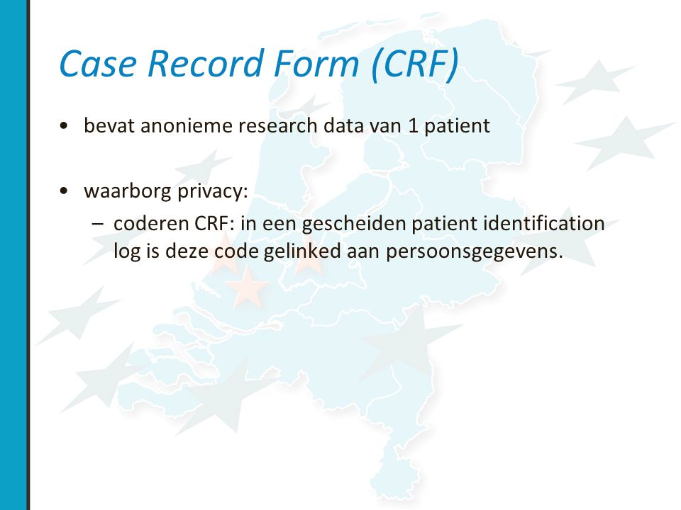Case Record Form (CRF) bevat anonieme research data van 1 patient