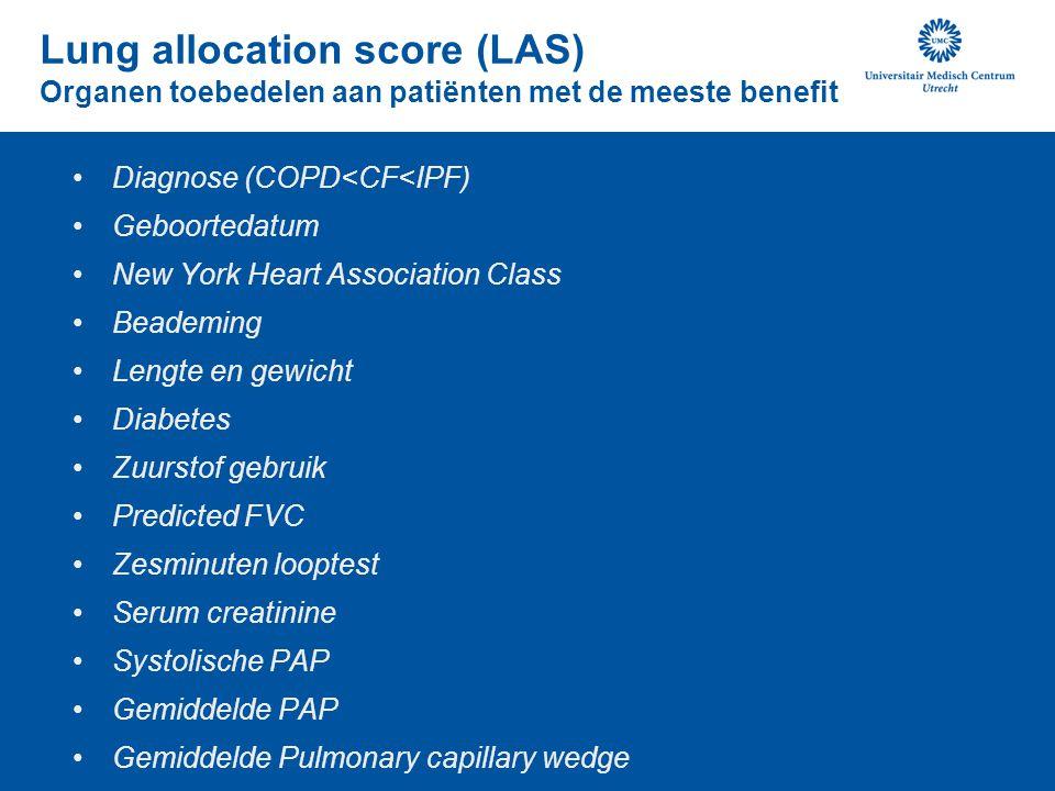 Lung allocation score (LAS) Organen toebedelen aan patiënten met de meeste benefit