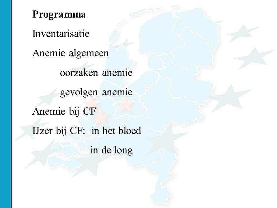 Programma Inventarisatie. Anemie algemeen. oorzaken anemie. gevolgen anemie. Anemie bij CF. IJzer bij CF: in het bloed.