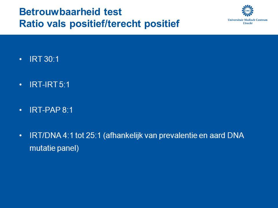 Betrouwbaarheid test Ratio vals positief/terecht positief