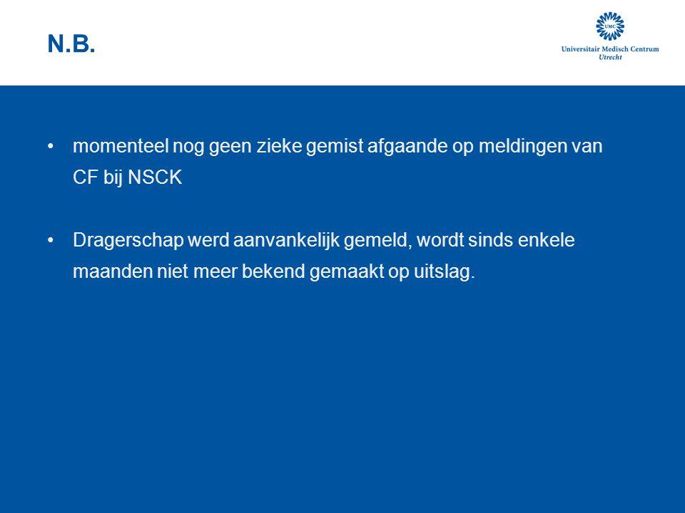 N.B. momenteel nog geen zieke gemist afgaande op meldingen van CF bij NSCK.