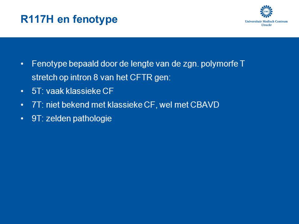 R117H en fenotype Fenotype bepaald door de lengte van de zgn. polymorfe T stretch op intron 8 van het CFTR gen: