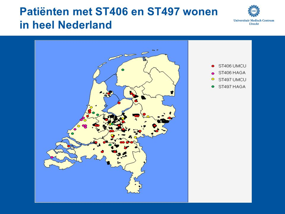 Patiënten met ST406 en ST497 wonen in heel Nederland