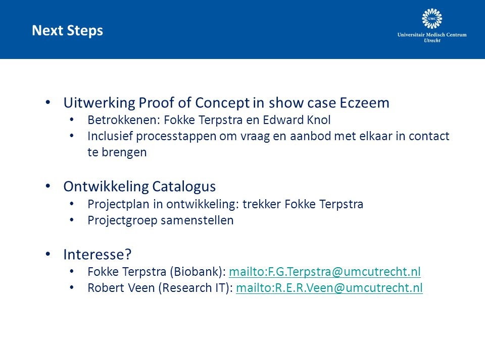 Uitwerking Proof of Concept in show case Eczeem