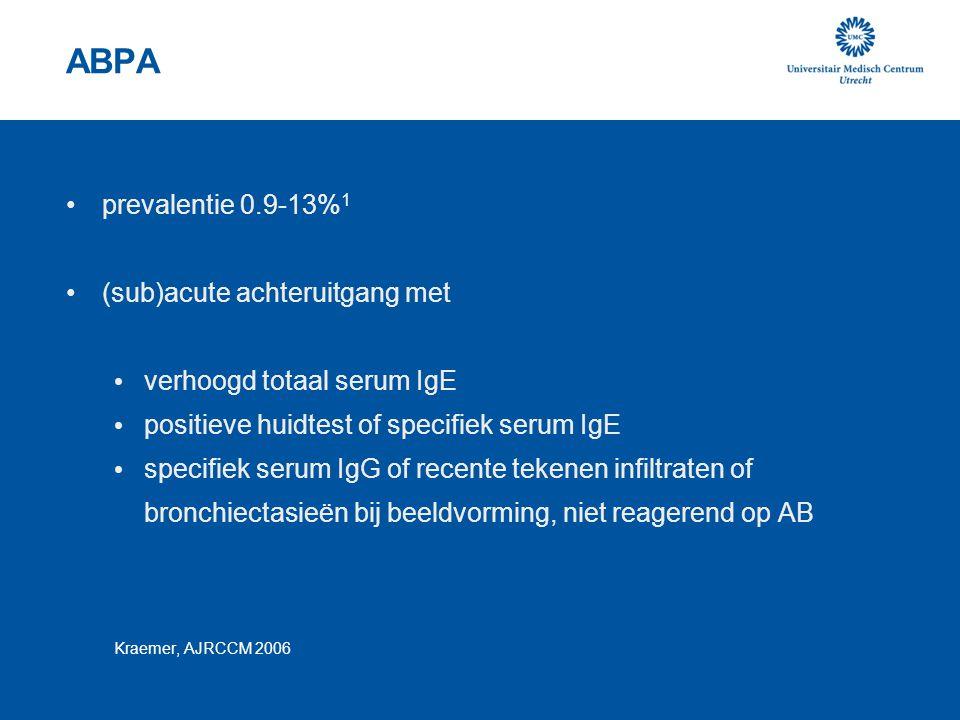 ABPA prevalentie 0.9-13%1 (sub)acute achteruitgang met