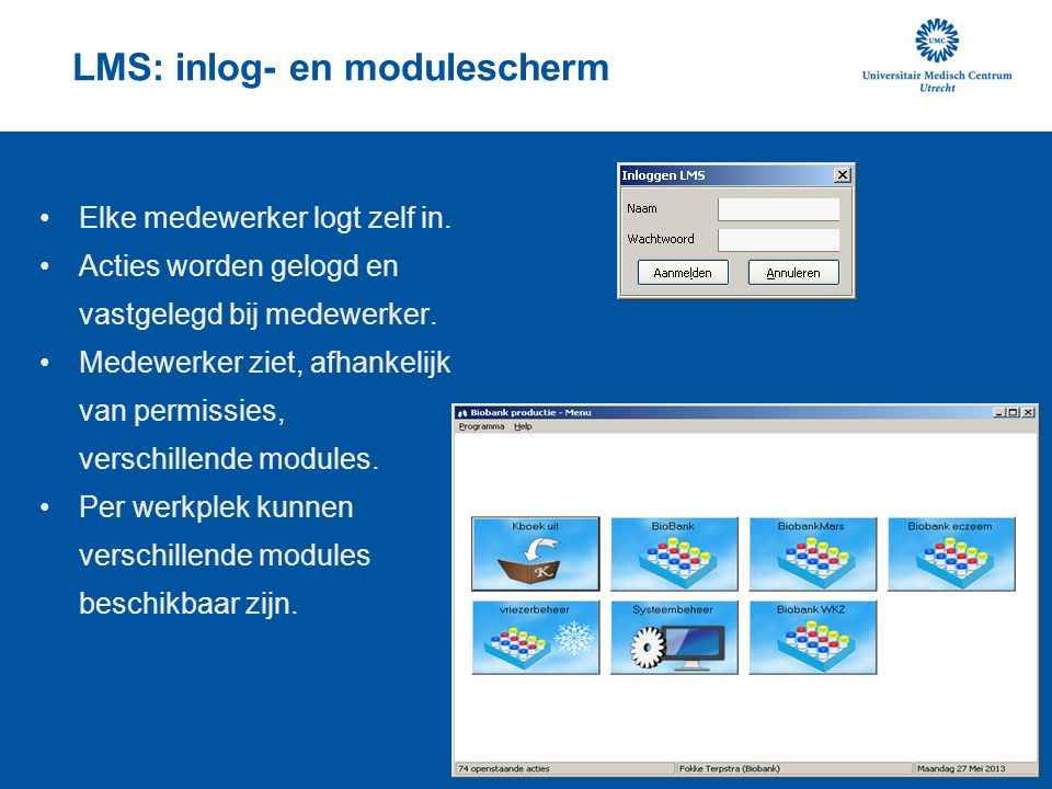 LMS: inlog- en modulescherm
